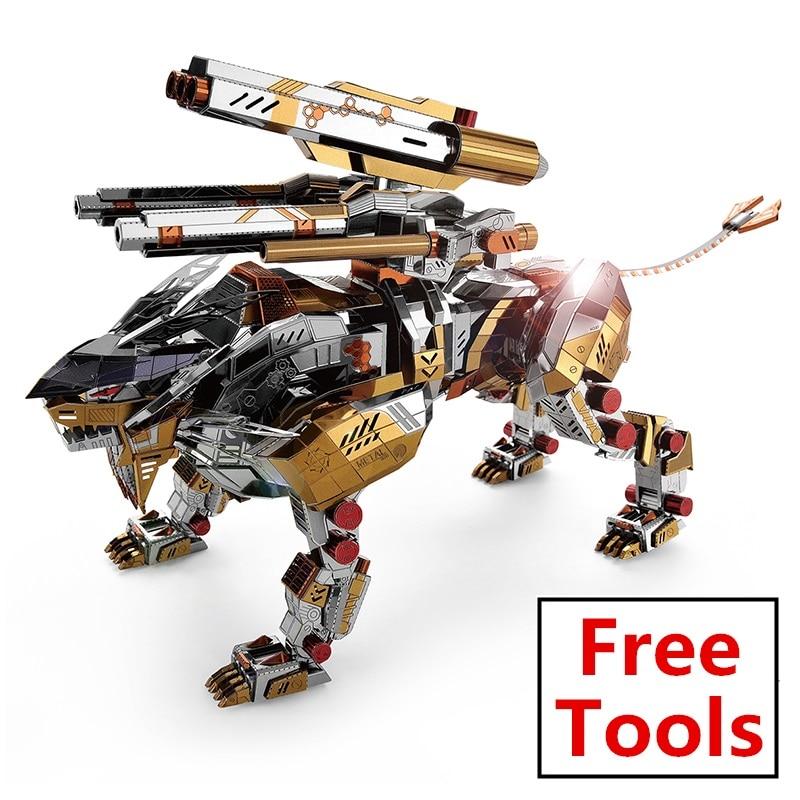 Microworld 3D bricolage assembler métal militaire Puzzle un Lion rugissant modèle Puzzle éducatif laser découpé jouet pour enfants adulte