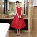 Free Shipping Scalloped Neck Red Homecoming Dresses  A-Line Vestido Coctel Talla Grande Red  Sleeveless Semi Formal Dress 1228C