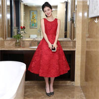 Free Shipping Scalloped Neck Red Homecoming Dresses A Line Vestido Coctel Talla Grande Red Sleeveless Semi