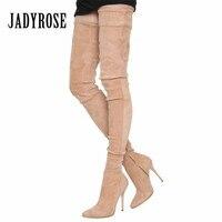 Jady Rose 2018 Sexy Élastique Suede Femmes Cuissardes Bottes Mince À Talons Hauts Sur Le Genou Bottes Slim Fit Femme Stretch Botas Mujer