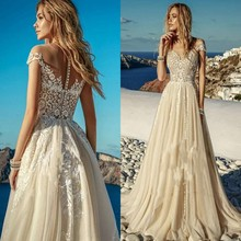 Винтажное кружевное пляжное Бохо свадебное платье цвета шампань Vestido de Noiva сексуальное прозрачное Тюлевое свадебное платье с коротким рукавом