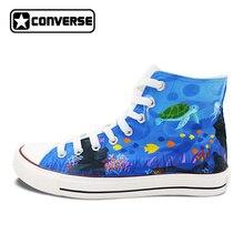 Converse All Star ручной росписью обувь Для женщин Для мужчин Пользовательские Дизайн Seaworld созданий высокие кроссовки подарки Подарки