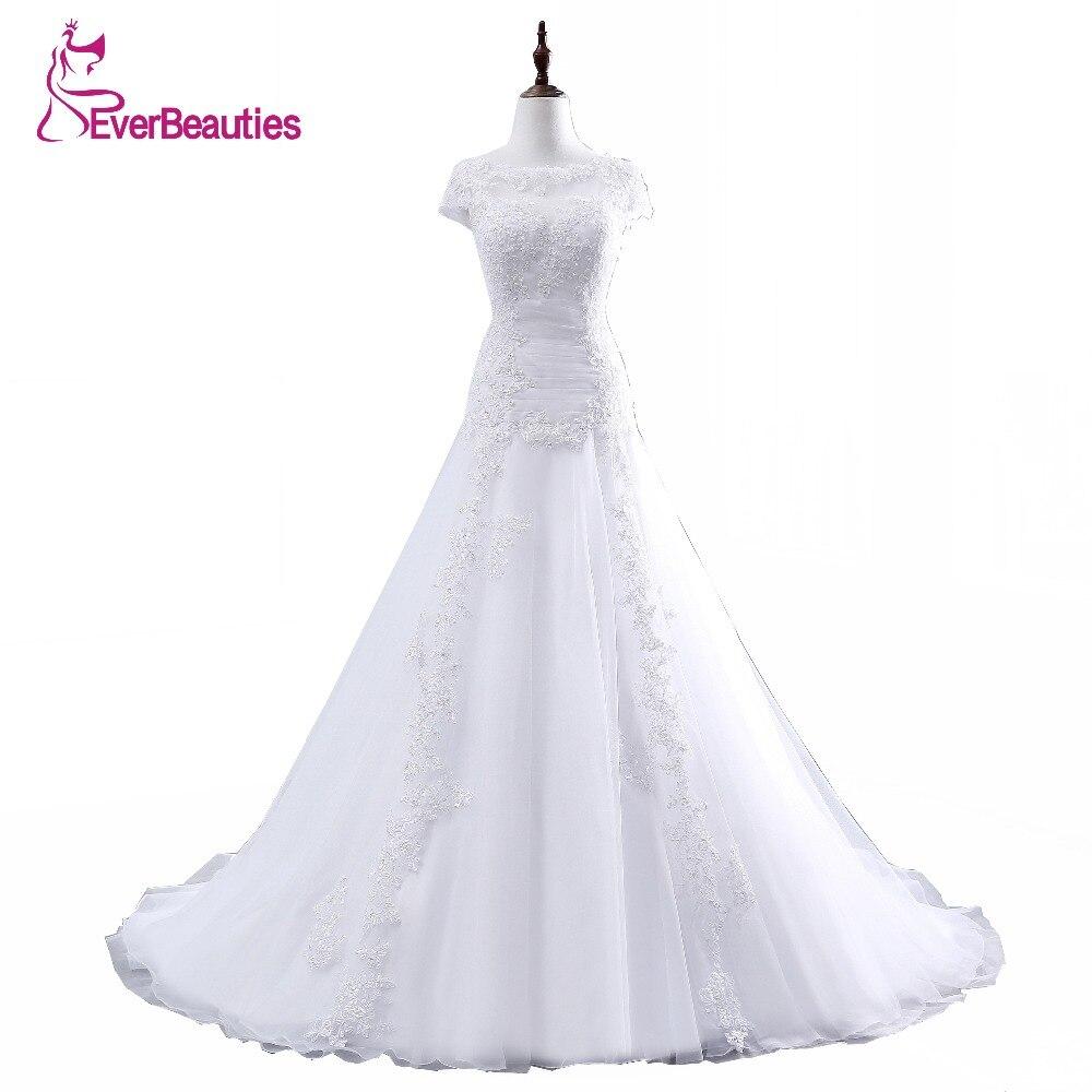 Vestido De Noiva A-Line Floor Length Appliques Tulle Csutomize Lace Elegant Wedding Dress In Stock Robe De Mariage