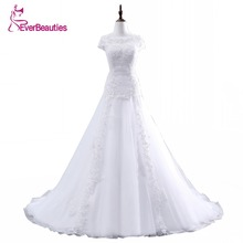 Vestido De Noiva A Line Floor Length Appliques Tulle Csutomize Lace Elegant Wedding Dress In Stock