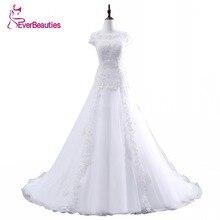 Vestido font b De b font Noiva A Line Floor Length Appliques Tulle Csutomize Lace Elegant