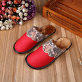 High Quality Winter Warm Home Slippers Couples Genuine Cow Leather Leisure Lamb Cow Muscle Women Men Indoor Floor Slippers