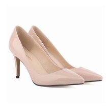 LOSLANDIFEN Women Pumps Patent Leather Fashion Pointed Toe High Heels Shoes lady corset WORK PUMPS COURT SHOES US 4-11 952-1PA