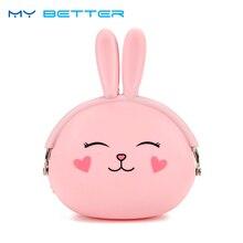 Kawaii Fashion Coin Purse Lovely Cartoon Rabbit Pouch Women Girls Small Wallet Soft Silicone Bag Kid Gift