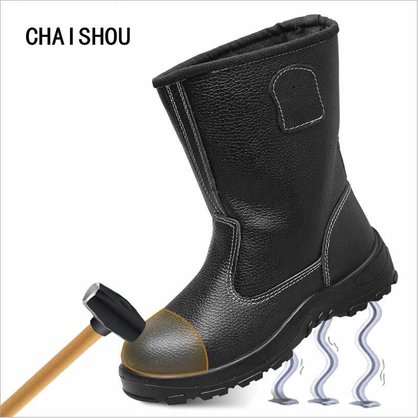 4400a9621a8 Men s Work Boots Genuine Leather Steel Toe Cap Work Safety Shoes Anti-slip  Steel Puncture