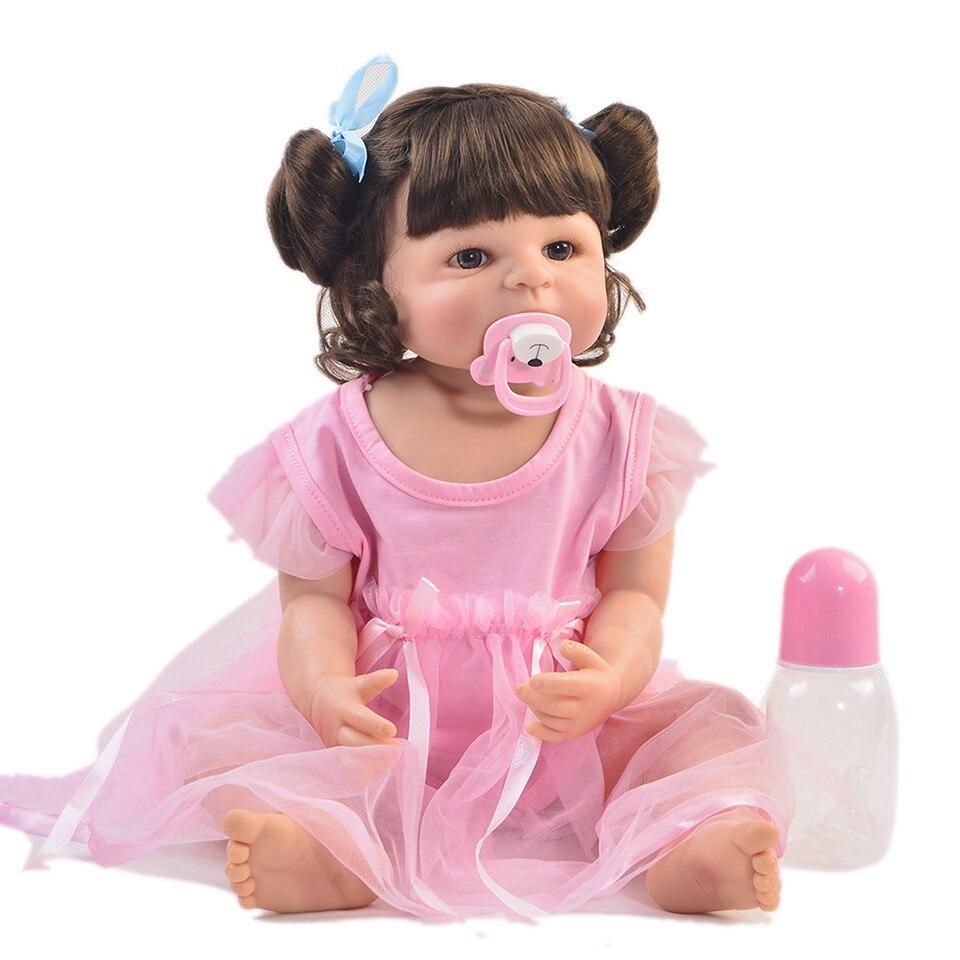 Mode 22 Inch Reborn Mädchen Baby Puppe Volle Körper Silikon Realistische Prinzessin Baby Puppe Spielzeug Für Kind Weihnachten Geschenk DIY lockiges Haar-in Puppen aus Spielzeug und Hobbys bei  Gruppe 3