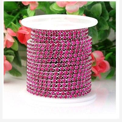 1 ярд/шт, 30 цветов, стеклянные хрустальные стразы на цепочке, Серебряное дно, Пришивные цепочки для рукоделия, украшения сумок для одежды - Цвет: Purplish red