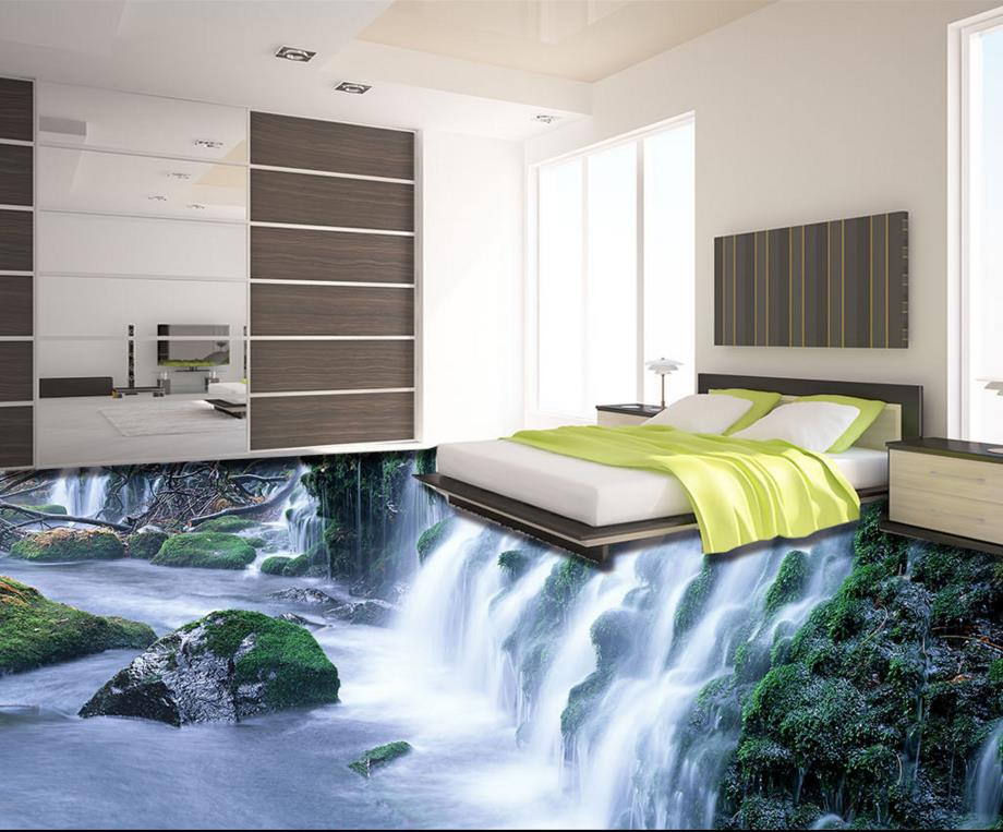 3d floor wallpaper custom 3d stereoscopic pvc vinyl flooring wallpaper waterfall landscape 3d. Black Bedroom Furniture Sets. Home Design Ideas