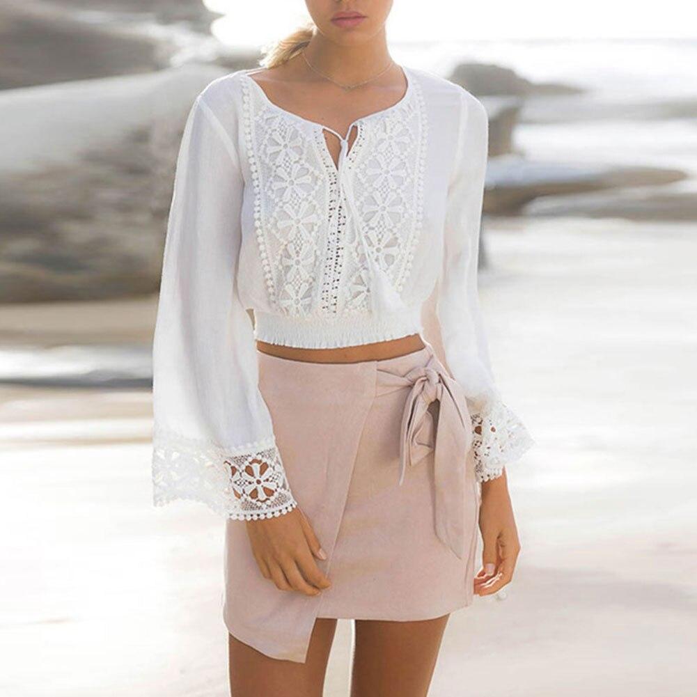 2017 Women Sexy Chiffon Lace Top Blouse V-neck White Long Sleeve Tassel Tops Beautiful Casual Shirts