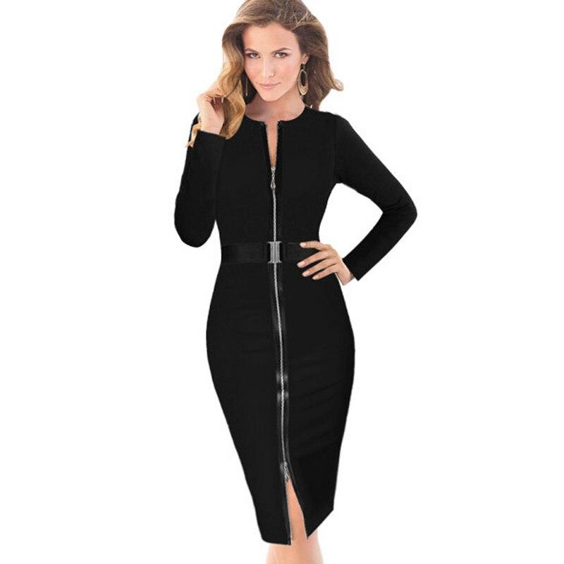 Dresses Intelligent Aamikast Free Shipping New V-neck Fashion Work Sliming Knee-length Pocket Party Elebrity Pencil Dress