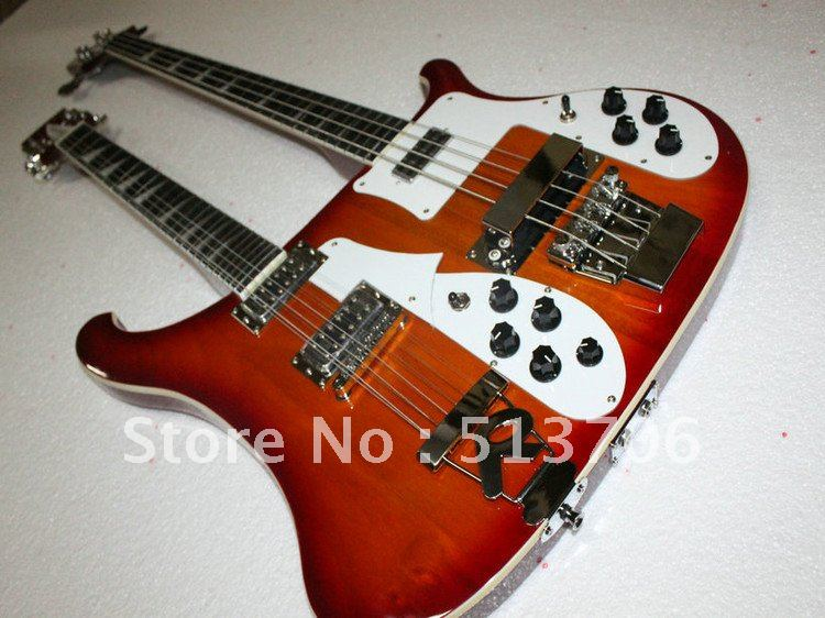 free shipping 4003 4 12 strings double neck cherry burst electric bass guitar ebony fingerboard. Black Bedroom Furniture Sets. Home Design Ideas