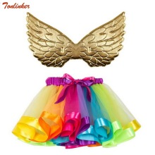Girls Rainbow Unicorn Costumes Gold Wings With Tutu Skirts Princess Kids Costume Sets rainbow