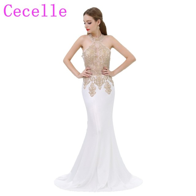 2018 New Mermaid Long White and Gold Prom Dress Halter Neck Lace ...