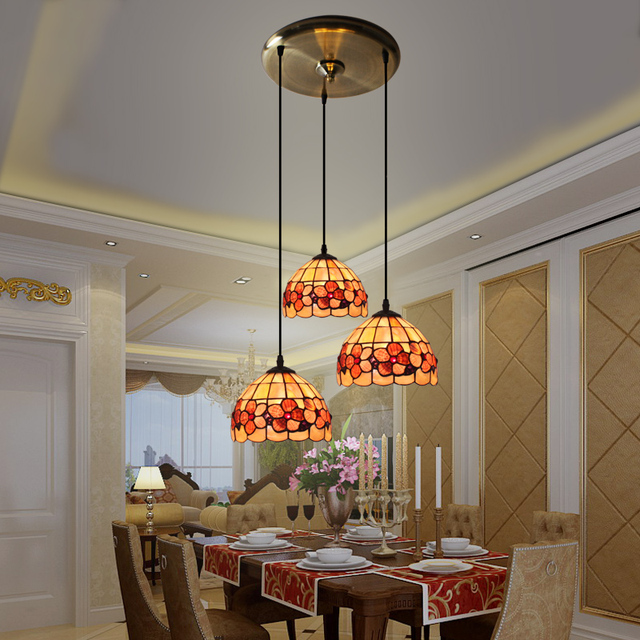 Tiffany European Style Garden Three Shell Restaurant Chandelier Mediterranean Bar Dining