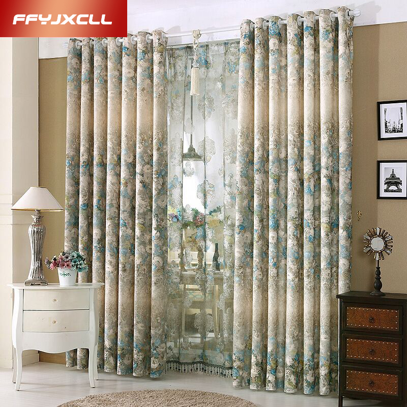 1 PC Printed Tulle Curtains For The Bedroom Elegant Window Living Room Blinds Drapes Ready Made Blackout Curtain