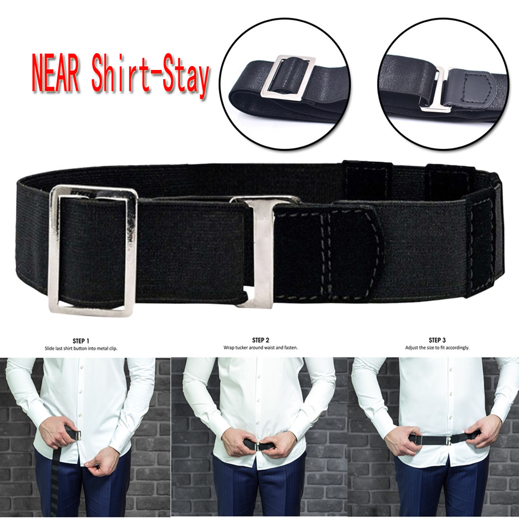 Fashion Shirt Holder Adjustable Near Shirt Stay Best Tuck It Belt for Women Men Work Interview Black Color 120cm