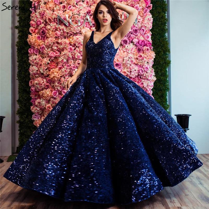 Design Your Wedding Gown: Blue Luxury Dubai Design V Neck Wedding Dresses 2019