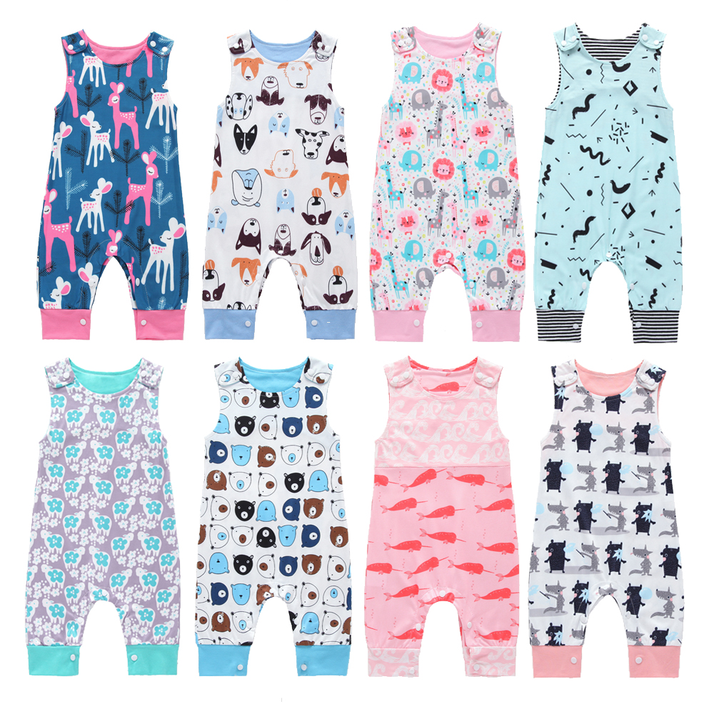 2019 New Baby Newborn Kids Toddler Boys Girls Clothes Sleeveless Short and Long Romper Floral Elephant Jumpsuit Playsuit Sunsuit