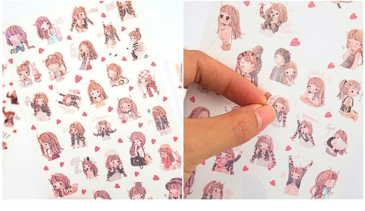Купить с кэшбэком 6PCS/ PACK Kawaii Cute Girl Sticker Marker Planner Life Diary Decorate Stationery Stickers Scrapbooking Bullet Journal sl1356