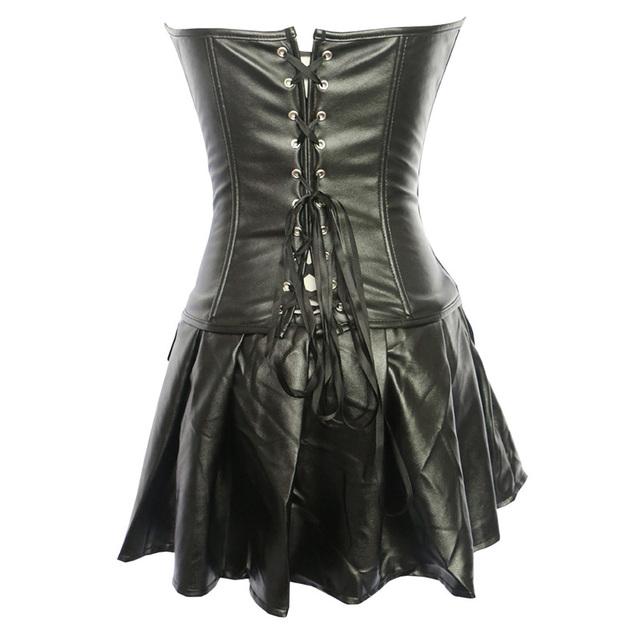 Zingirl PU Streetwear Sexy Shapers Tops Women Waist Trainer Body Control Slips Bandage Push Up Intimates Plus Size 6XL Corset