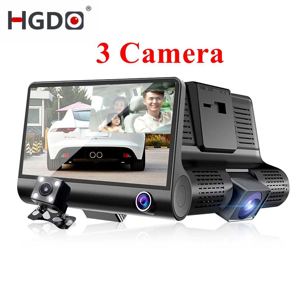 HGDO Auto DVR 3 Camera Lens Dash Camera 4.0 Inch Dual Lens Met Achteruitrijcamera Video Recorder Auto Registrator dvr Dash Cam