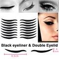 Smoky tatuagem maquiagem dos olhos Sexy estilo gato olhos etiqueta delineador preto e fita dupla pálpebra 16 adesivos
