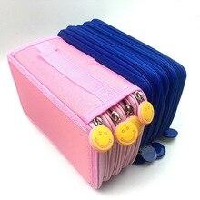 Получить скидку Корейский Пенал школьный кисть Шторы для девочек пенал Kawaii выражение большой Ёмкость школьные канцелярские штраф