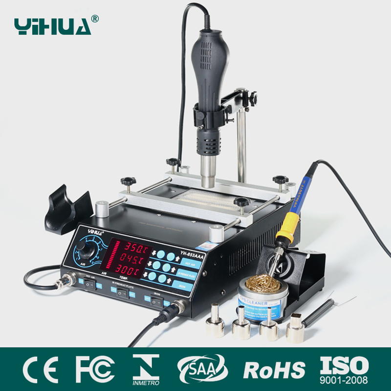 YIHUA 853AAA Bga Rework Station SMD Hot Air Gun Soldering Irons Preheating Station Functions 3IN1 Bga