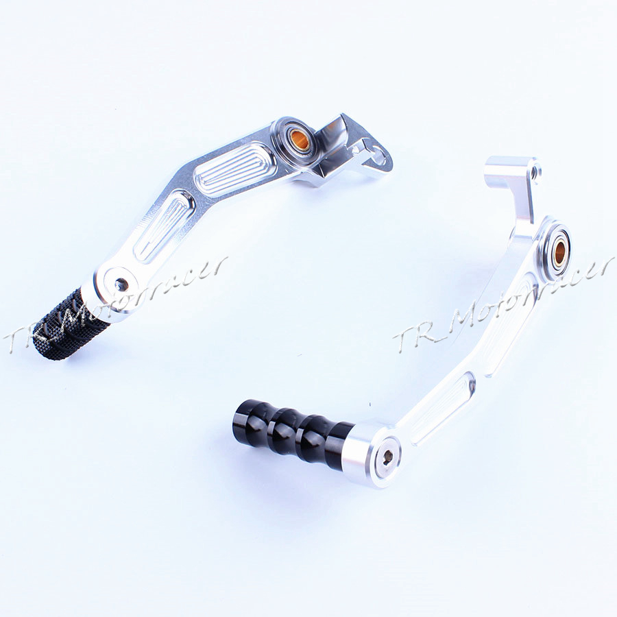 Motorcycle Aluminum Rear Foot Brake Gear Shifter Shift Pedal Levers For KTM DUKE 125/200/390 2013-2014 Moto Parts Silver motorcycle front rider seat leather cover for ktm 125 200 390 duke