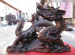 Piosenka voge gem S6921 8 Chińskiej świątyni czerwony Brąz Miedź rzeźbione realistyczne wreathe Posągi Smok bestia w Posągi i rzeźby od Dom i ogród na