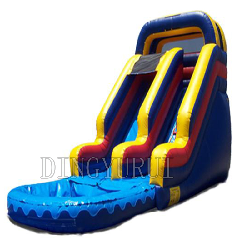 2016 PVC commercial rainbow inflatable water slide with pool /factory customized for kids