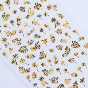 Image 2 - 1 Sheet  Gold 3D Nail Sticker Coconut Tree Leaf Holo Flower Laser Adhesive Decal Sticker  Nail Art Decal