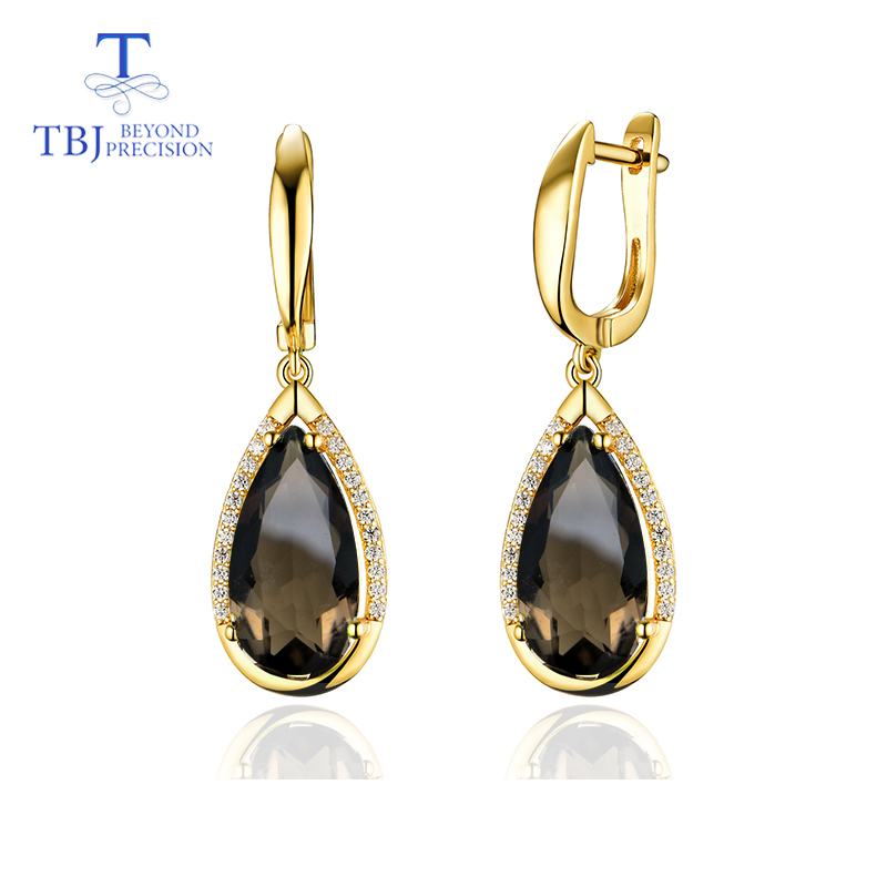 TBJ Natural smoky peal8 16mm gemstone clasp Earring 925 Sterling Silver Fine Jewelry For party best