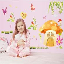 Colorful Cartoon forest mushroom butterfly home decal wall stickers for kids girls babys room  childhood creative sticker high quality colorful cartoon forest pattern removeable wall stickers