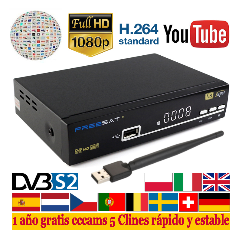 Satxtrem V8 Super DVB-S2 Digital Satellite TV Receiver DVB S2 S Satellite Network TV Receptor Full HD 1080P FTA Sat Decoder