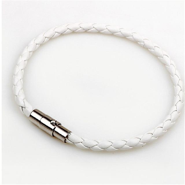 Handmade Boho Hippie Black White Dark Brown Macrame Leather Silver Color Easy Magnet Lock Closure Stackable Bracelets for Man 2