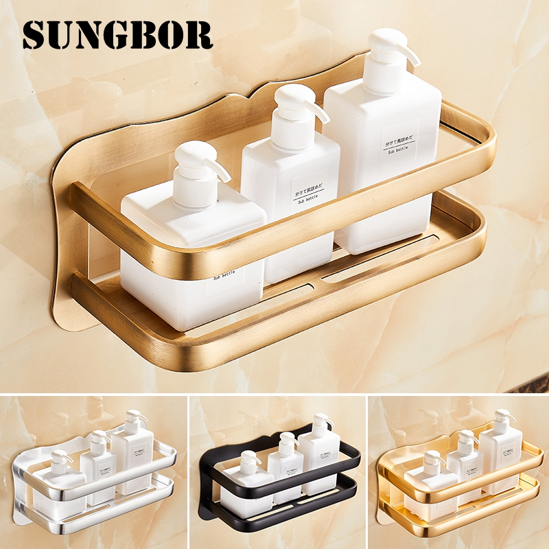 Bathroom Shelf Corner Shelf Caddy Bathroom Space Aluminum Corner Shelf Shower Storage Wall Holder Shampoo Holder HL-4141F image