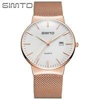 Luxury Rose Gold Mens Womens Wristwatches Quartz Mesh Belt Man Woman Watch Stainless Steel GIMTO Brand