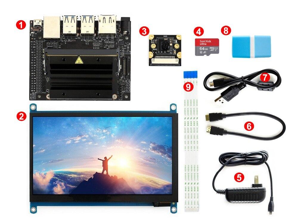 Nvidia jetson nano desenvolvedor kit pacote de desenvolvimento ia 64 gb micro cartão sd câmera 7