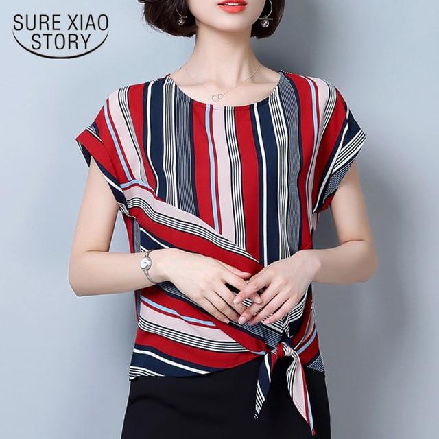 2f49302dd0af New 2018 Hot Sale Chiffon Women Blouse Shirts Summer Fashion Striped  Women s Clothing Causal O Neck Ladies Tops Blusas 0620 40