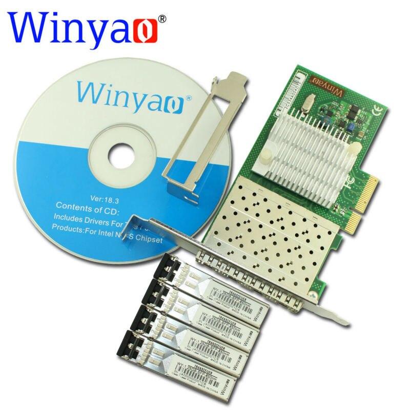 Winyao WYI350F4 PCI Express X4 Quad Port 1000Mbps Gigabit Ethernet ...