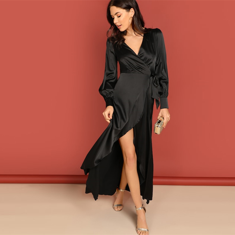 COLROVIE Black Knot Surplice Wrap Split Party Maxi Dress Women Clothes 2019 Spring Long Sleeve High Waist Dress Ladies Dresses 9
