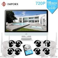 8CH 720P Wireless Security CCTV IP Camera System NVR With 16 inch LCD Monitor 8PCS Camara P2P Wifi Video Surveillance Kits Set