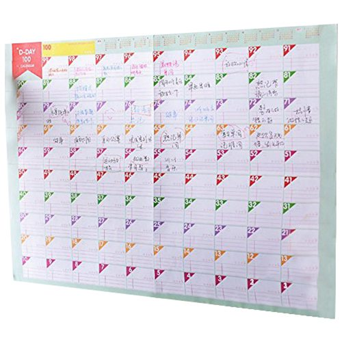 3 Sheets Plan Paper 100 Days Countdown Schedule Wall Calendars Daily Weekly Months Planner Goals Organizer for Work/Study