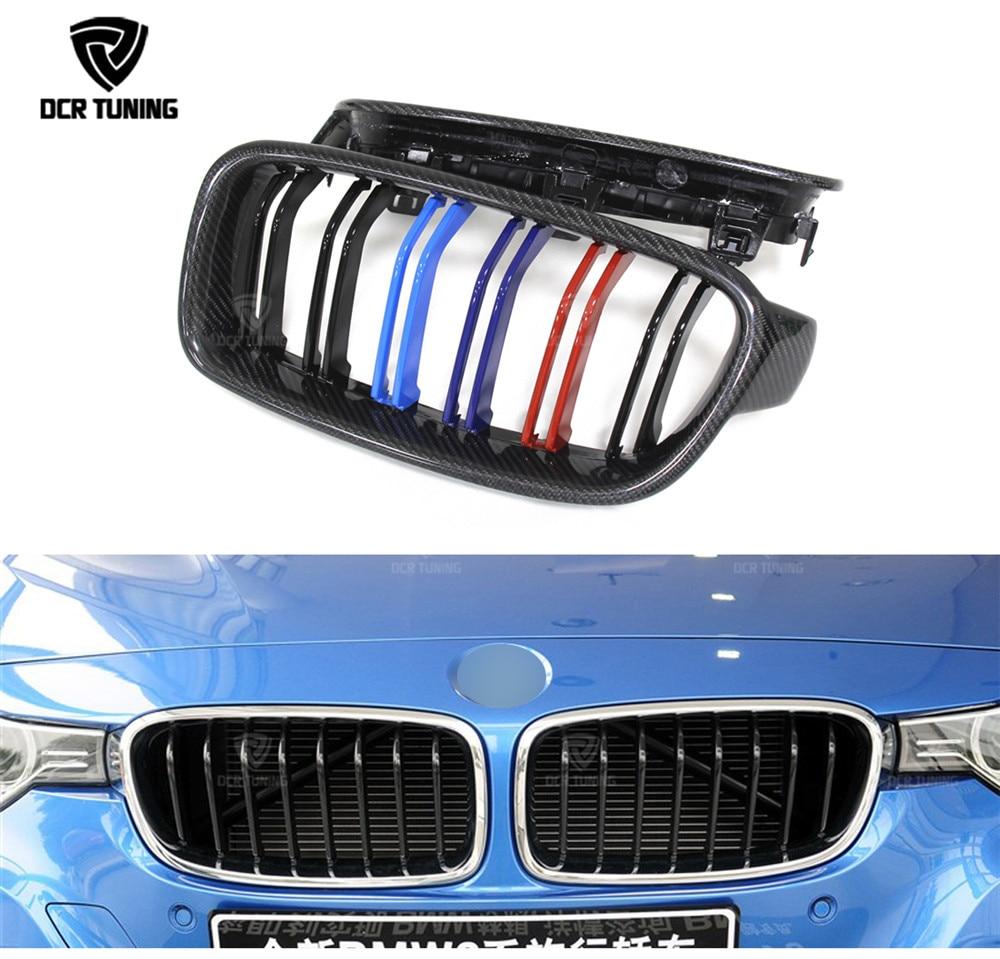 Dual Slats Front Grille For BMW 3 Series F30 320i 325i 328i 335i Carbon Fiber Front