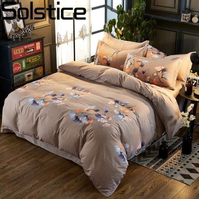 Solstice Home Textile Ginkgo Leaf Single Double Bedding Sets Girl Woman Kids Teen Brown Linens Duvet Cover Pillowcase Bed Sheets